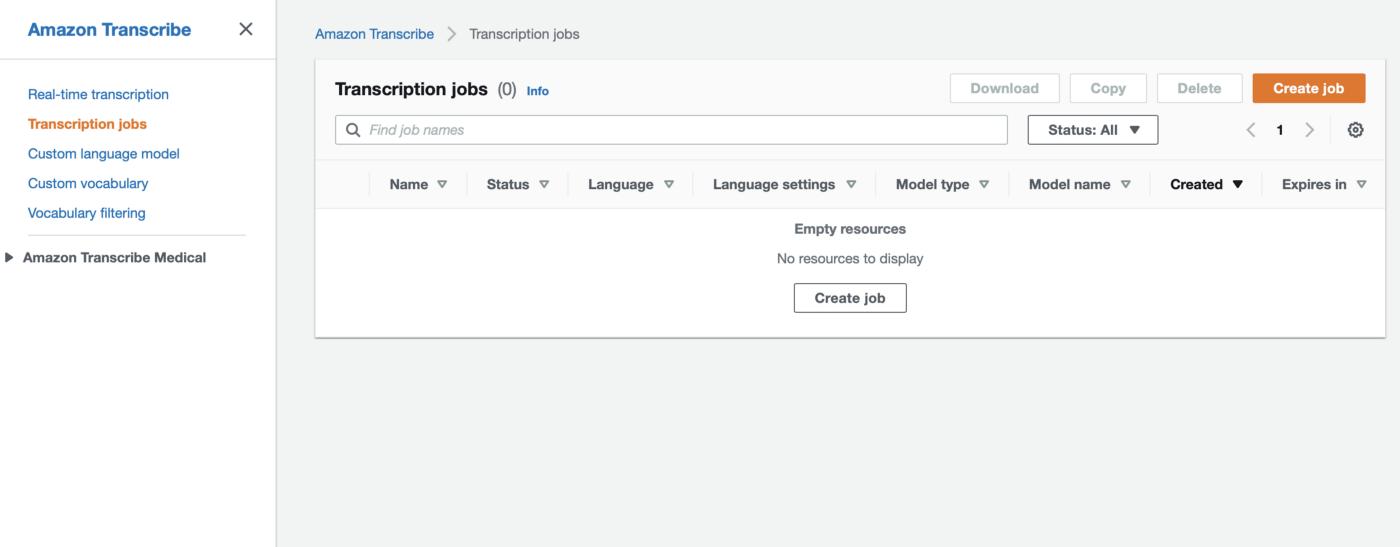 Amazon Transcribe Transcription jobs