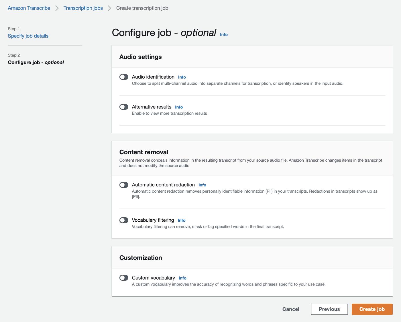Configure transcription job with optional settings