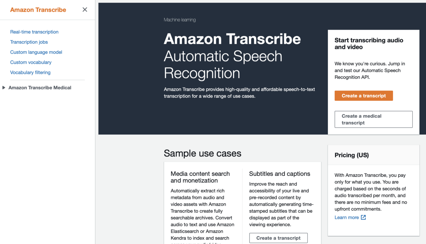 Amazon Transcribe from AWS Console