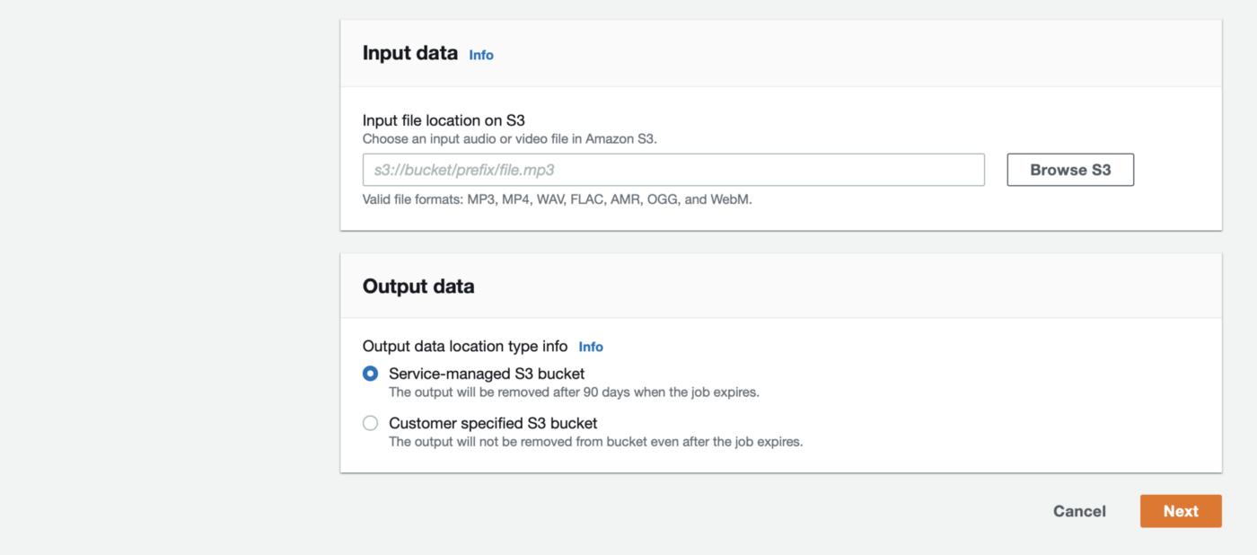 Specify input data for a Transcribe transcription job